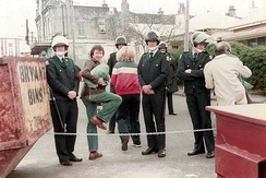 Police outside Eden Park prior to a New Zealand match during the 1981 Springbok tour