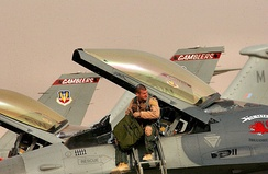 An F-16 Fighting Falcon pilot assigned to the 363rd Air Expeditionary Wing, prepares for takeoff before a mission from a forward-deployed location in Southwest Asia on 27 March 2003 in support of Operation Iraqi Freedom.