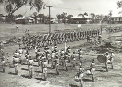 Band members from the 10th/48th Battalion on parade in Darwin, September 1944.