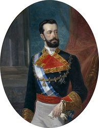An older portrait of Maria Letizia's husband Prince Amadeus of Savoy, Duke of Aosta during his time as King of Spain.