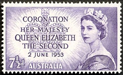 Postage stamp with portrait of the Queen, 1953