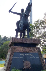 Statue of Bakshi Jagabandhu, the leader of Paika Rebellion, in Bhubaneswar.
