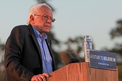 Sanders speaking at a rally in Vallejo, California, May 2016