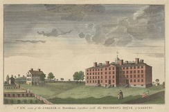University Hall (right) and president's house, engraving 1792