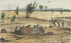 Fighting between Burke and Wills's supply party and Indigenous Australians at Bulla in 1861