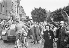 Sudeten Germans cheering the arrival of the German Army into the Sudetenland in October 1938