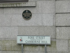 Camborne Hill street name and plaque commemorating Trevithick's steam carriage demonstration in 1801.