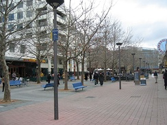 City Walk, a pedestrian mall in Civic is a focus of retail activity and outdoor dining.