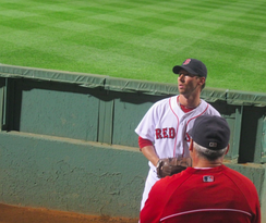 Breslow warming up in the bullpen during the 2013 season