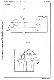 Рис.2 Схемы из патента Икклза и Джордана 1918г., один (рис.1) нарисован как два инвертирующих каскада усилителя с положительной обратной связью, другой (рис.2) как симметричная перекрёстносвязанная пара.