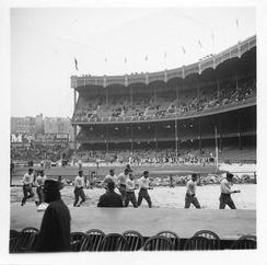 The Rams football team in Yankee Stadium on November 30, 1940, during a game against NYU