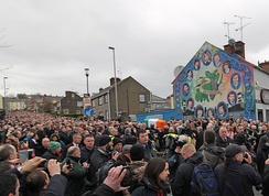 The funeral procession of Irish republican politician Martin McGuinness, Derry, Northern Ireland
