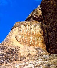 Petroglyphs in modern-day Gobustan, Azerbaijan, dating back to 10,000 BCE and indicating a thriving culture