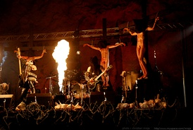 "Video shoot for ""Carving a Giant"" by Gorgoroth, which features mock crucifixions"