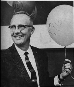 Celebrating winning the Nobel Prize, October 30, 1968. The balloons are inscribed with the names of subatomic particles that his group discovered.