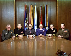 General John D. Ryan with Secretary of Defense Melvin R. Laird and the other members of The Joint Chiefs of Staff at The Pentagon on January 5, 1973.