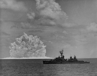 USS Agerholm (DD-826) launched an ASROC anti-submarine rocket, armed with a nuclear depth bomb, during the Swordfish Test of 1962