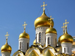 Onion domes of Cathedral of the Annunciation at the Moscow Kremlin.
