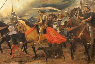 Чума заставляет отступить кастильцев от Лиссабона. Картина Константина Фернандоса (1901 год)