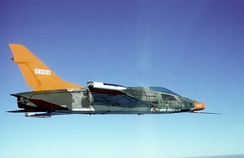 A QF-100D pilotless drone near Tyndall Air Force Base, Florida, in 1986.
