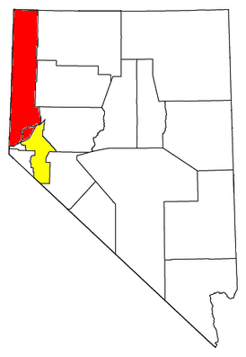 Location of the Reno-Tahoe-Fernley CSA, with the Reno-Sparks Metropolitan Statistical Area highlighted in red