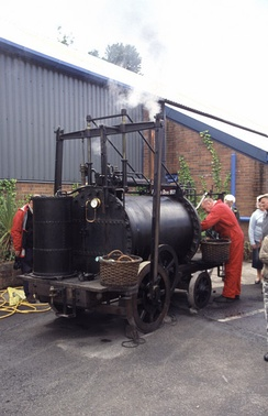 A replica of Trevithick's Puffing Devil, built by the Trevithick Society and regularly demonstrated in Cornwall