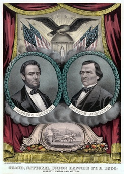 Poster for the Lincoln and Johnson ticket by Currier and Ives
