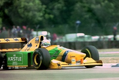 Patrese driving the Benetton B193B during practice for the 1993 British Grand Prix