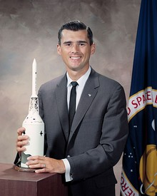 Chaffee with a spacecraft model