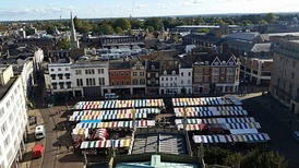 Cambridge Market viewed from the Tower of St. Mary the Great