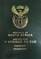 Front cover of a South African passport with new coat of arms, issued from 2009 onwards.
