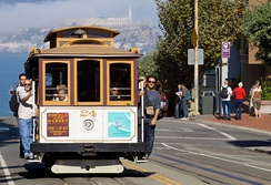 A San Francisco cable car in 2008. The cable car's effectiveness in hilly environments partially explains its continued use in San Francisco.