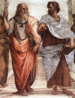 Plato (left) and Aristotle (right), from a detail of The School of Athens, a fresco by Raphael. Plato's Republic and Aristotle's Politics secured the two Greek philosophers as two of the most influential political philosophers.