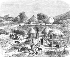 A shatra (village) founded by Roma slaves, as depicted in an 1860 engraving by Dieudonné Lancelot [fr].