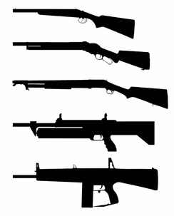 Different types of existing shotguns designs from top to bottom:  1. Break-action (Coach Gun)  2. Lever-action (Winchester M1887)  3. Pump-action (Winchester M1897)  4. Revolver-action (M1216)  5. Fully-automatic (Atchisson Assault Shotgun).
