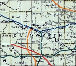 1915-1918 Railroad Map of Ellsworth County