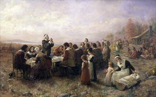 The First Thanksgiving at Plymouth, Massachusetts by English Pilgrims in 1621.