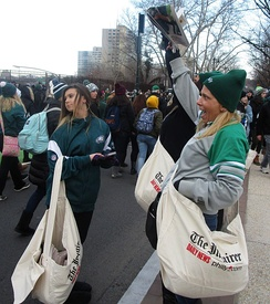 Copies of The Inquirer being sold at the Philadelphia Eagles' Super Bowl LII victory parade in 2018