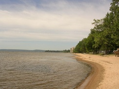 A beach on Lake Nipissing in West Ferris, a neighbourhood of North Bay