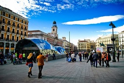 Puerta del Sol located in the center of Madrid.
