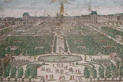Le Nôtre's central axis of the Tuileries' parterres in a late 17th-century engraving