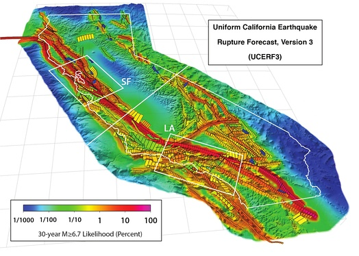"Red marks the major fault zones. The red zone extending northeast from ""LA"" is the Garlock Fault. Extending northward from the Garlock Fault are (east-to-west) the Death Valley fault zone (orange), Panamint Valley Fault (red), Little Lake and Airport Lake fault zones (short bit of orange). The White Wolf Fault (yellow) parallels the western end of the Garlock Fault, with the Kern Canyon Fault striking north."