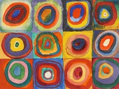 Squares with Concentric Circles; by Wassily Kandinsky; 1913; watercolor, gouache and crayon on paper; height: 23.9 cm (9.4 in.), width: 31.6 cm (12.4 in.); Lenbachhaus (Munich, Germany)
