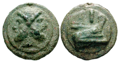 Roman copper aes grave coin of the First Punic war era. (Obverse) head of Janus, the two-faced god. (Reverse) prow of a warship, a common motif of coins of this period, and virtually a symbol of the Roman Republic (c. 240 BC)