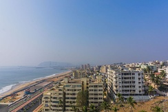 A view of the city from the Beach Road along RK Beach