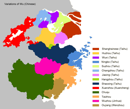 The main dialect areas of Wu in Mainland China.