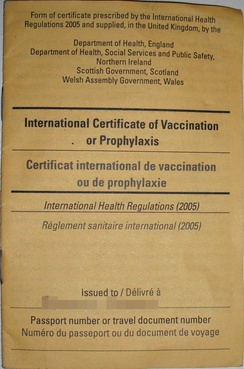 The cover of a certificate that confirms the holder has been vaccinated against yellow fever