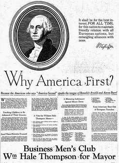 "A newspaper clipping of an image of George Washington accompanied by the question ""Why America First?"" followed by a paragraph of text"