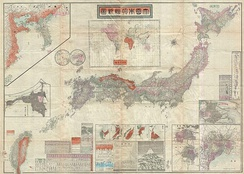 A map of the Japanese Empire dating to 1895. This map was issued shortly after the 1895 Japanese invasion of Taiwan and is consequently one of the first Japanese maps to include Taiwan as a possession of Imperial Japan.