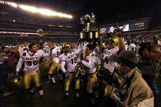 Navy celebrates after winning the 2005 Army–Navy Game on December 3, 2005.